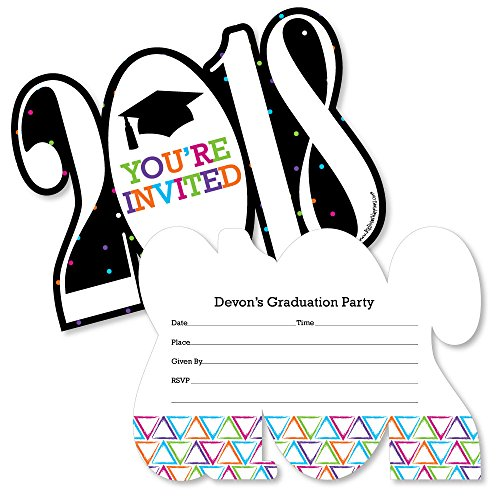 Hats Off Invites - Custom Hats Off Grad - Personalized 2018 Shaped Graduation Party Invitations - Fill In Invitation Cards with Envelopes - Set of 12