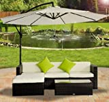 Outsunny Rattan Wicker Conservatory Outdoor Garden Patio Furniture Corner Sofa Set without Parasol - Brown