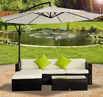 garden patio furniture. Outsunny Rattan Wicker Conservatory Outdoor Garden Patio Furniture Corner Sofa Set Without Parasol - Brown Amazon UK