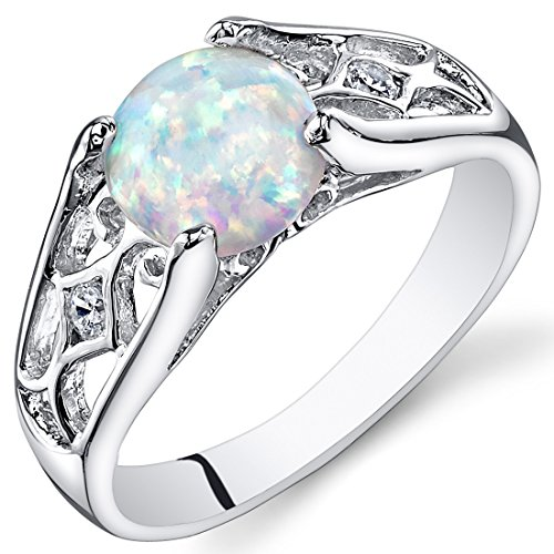 Created Opal Ring Sterling Silver Round Cabochon 1.25 Carats Size - Ring Opal Birthstone Gold