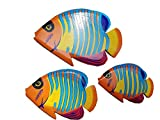 All Seas Imports Set of (3) Hand Carved and Painted Tropical Style Wood Wall Decor Hanging Fish!