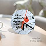 Banberry Designs When Cardinals Appear Angels are Near Memorial Desk Clock - 4 1/4 Inch Diameter Red Cardinal Themed Clock