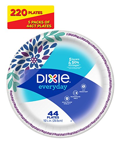 Large Product Image of Dixie Everyday Disposable Paper Plates, 10 1/16 Inch Plates, 44 Count ( Pack Of 5 ) ( Designs May Vary )