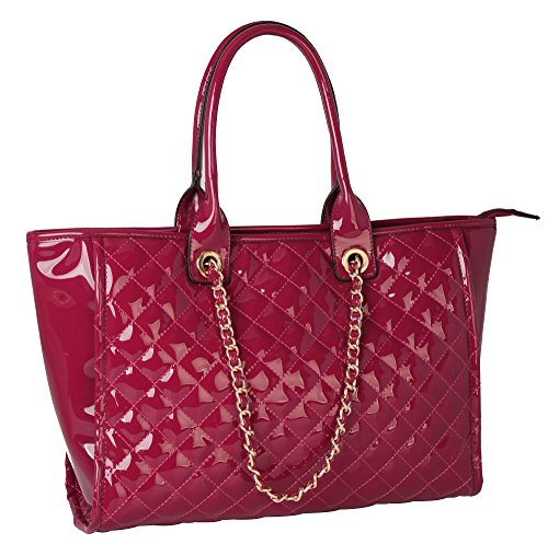rimen-co-faux-shinny-patent-pu-leather-quilted-tote-with-metal-chain-womens-purse-handbag-ob-2891-re