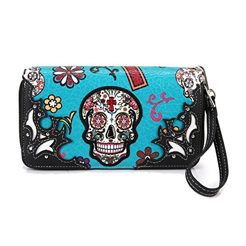 Cowgirl Trendy Western Purse Sugar Skull, Cross Clutch Wallet Day of the Dead Wristlet, Teal by Cowgirl Trendy (Image #1)