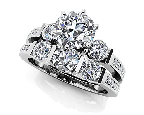 Or blanc 14 K Triple canal de diamant de mariage Ensemble