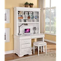 Classique collection white finish wood childrens desk hutch and stool