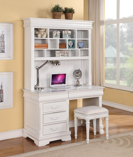 Classique collection white finish wood children's desk hutch and stool by ACM
