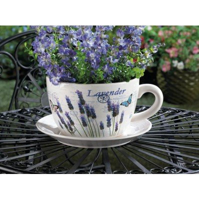 Lavender & Butterfly Theme Teacup & Saucer Planter Drain Hole Bottom of Teacup ()