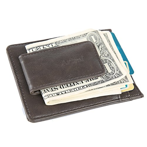 Men's RFID Anti-Theft Brush Leather Magnetic Front Pocket Money Clip Wallet