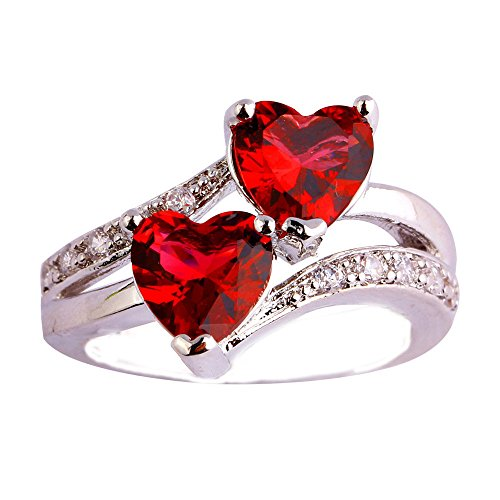 Empsoul 925 Sterling Silver Natural Chic Filled Forever Love Heart Ruby Spinel Proposal Wedding Ring