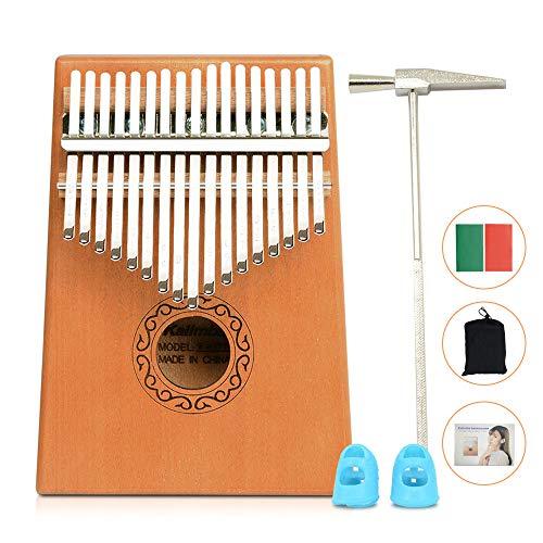 Apelila 17 Key Kalimba Thumb Piano, Solid Mahogany Wood Body Finger Piano with Tune Hammer,Carry Bag,Pickup,Key Stickers (Wood)