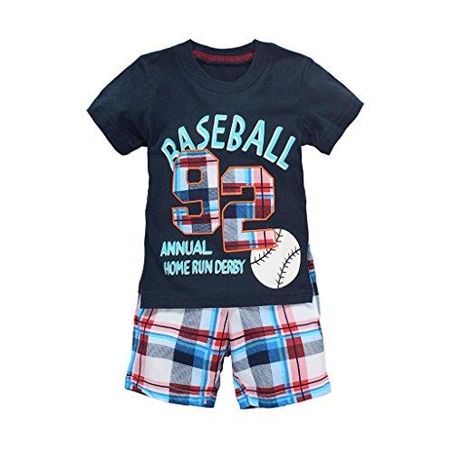 Baseball Little Boys Cotton Short Sleeve Set 2Pcs (Navy,6-7 - Navy 7 Shorts Old
