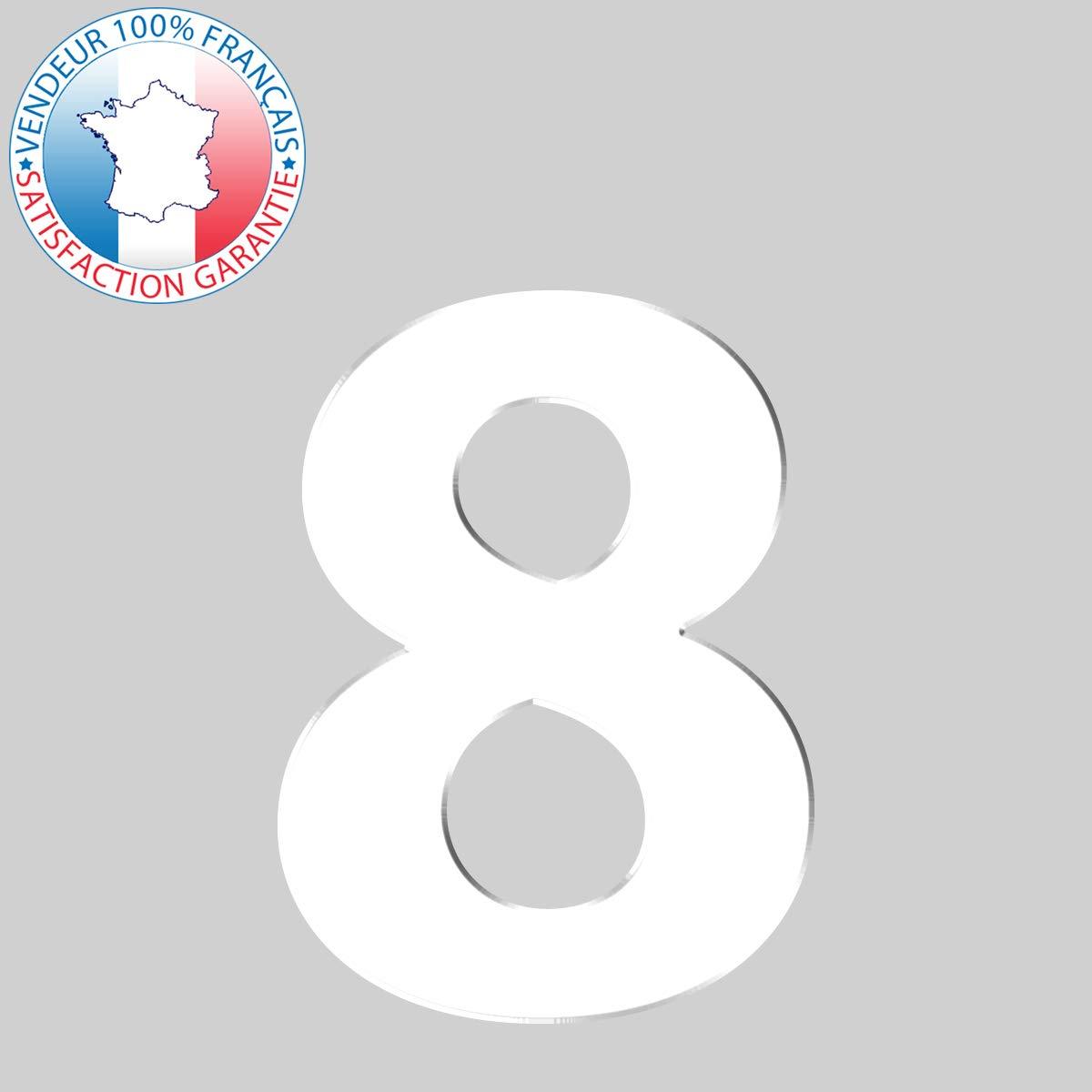 Num/éro de maison chiffres et lettres adh/ésifs d/écoup/és Hauteur 8 cm Num/éro de rue blanc 16 coloris disponibles Chiffre 7