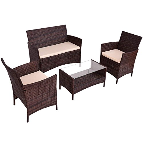 Goplus 4-Piece Rattan Patio Furniture Set Garden Lawn Pool Backyard Outdoor Sofa Wicker Conversation Set with Weather Resistant Cushions and Tempered Glass Tabletop (Mix ()