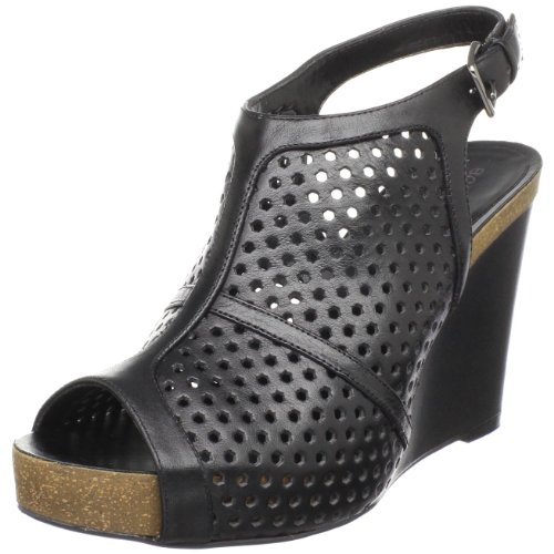 Bcbgirls Womens Tudor Sandalo Con Zeppa Nero Nuovo Vitello