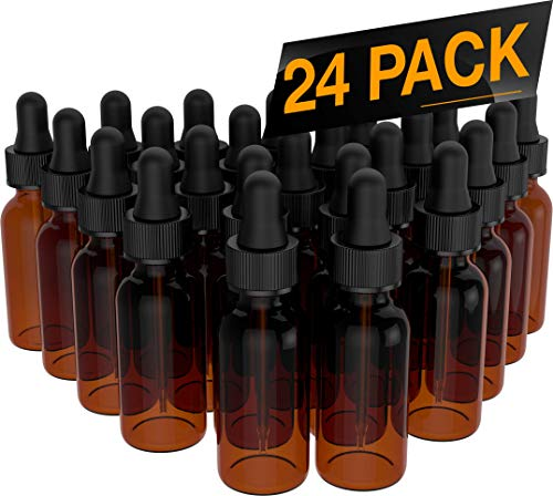 Essential Oil Roller Bottles - Round Boston Empty Refillable Amber Bottle with Glass Dropper for Liquid Aromatherapy Fragrance Lot - (1/2 oz) 15ml (24 PACK) ()