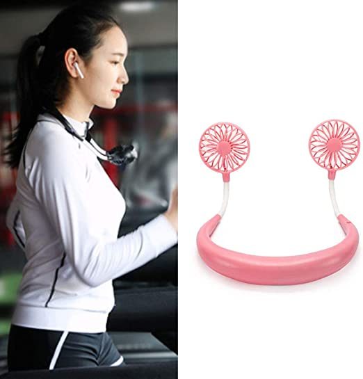 Portable Fans Rechargeable Wearable Headphone Style USB Rechargeable Neckband Fan Cooler White shengyuze Hand Free Personal Fan