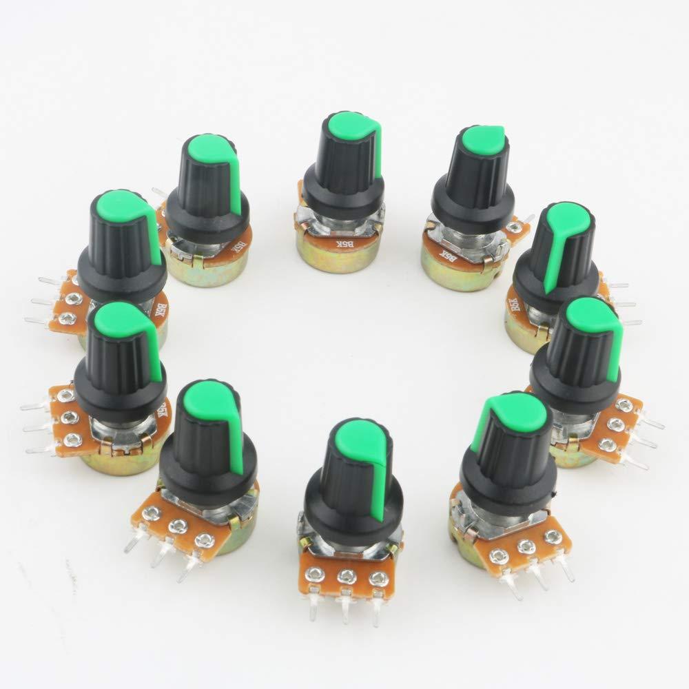 RUNCCI 10pcs lin/éaire rotatif potentiom/ètre,WH148,Potentiom/ètre 5k, 1 /× pincettes anti-statiques