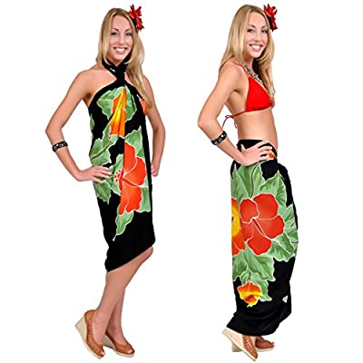 1 World Sarongs Womens Premium Hand Painted Hibiscus Cover-Up Sarong in Black at Amazon Women's Clothing store: Fashion Swimwear Cover Ups