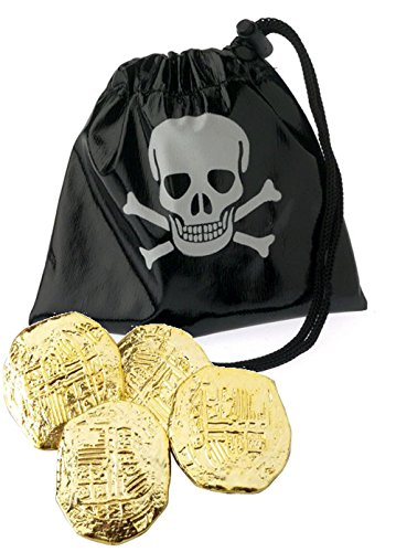 Booty Pouch - J&J's ToyScape Pirate Play Set - Gold Coins & Drawstring Pouches (Pack of 2 Bags & 72 Gold Coins) Perfect For Pretend Play, Add To Pirate Theme Party Costume