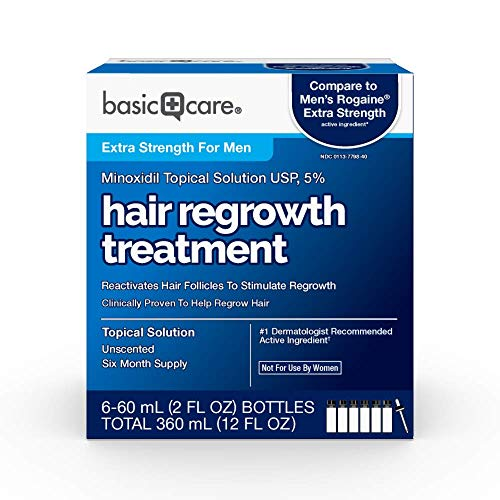 Amazon Basic Care Minoxidil Topical Solution, 5%, Hair Regrowth Treatment, 12 Fluid Ounces