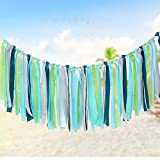 Colorful Ribbon Tassel Garland Already Assembled for Wedding Party Decorations Nursery Photo Props 40''(L) X 14''(H) Green