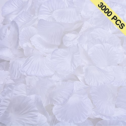BESKIT 3000 Pieces Silk Rose Petals Artificial Flower Petals for Wedding Confetti Flower Girl Bridal Shower Hotel Home Party Valentine Day Flower Decoration (White) (Petal Confetti)