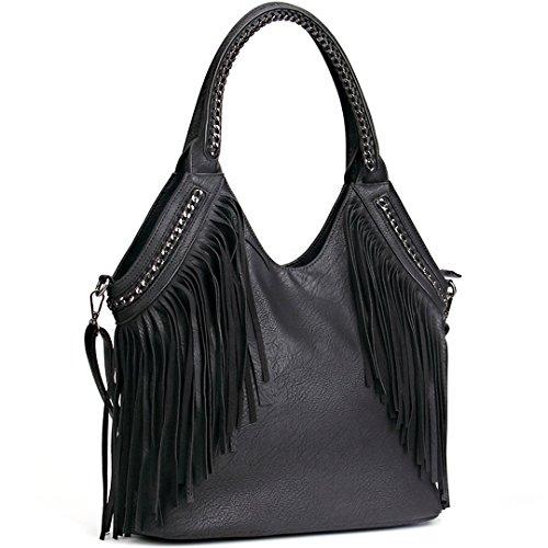 JOYSON Women Handbags Hobo Shoulder PU Leather Fashion Bag Tassels ()