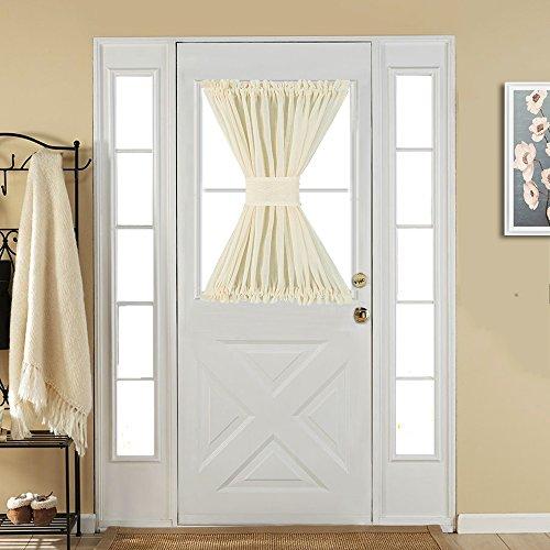 Best Dreamcity One Piece Faux Linen Sheer French Door Curtain Panel With Bonus Tieback, 52