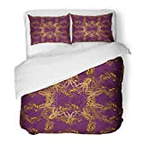 Emvency Bedding Duvet Cover Set Full/Queen (1 Duvet Cover + 2 Pillowcase) Floral Brocade Glass Metal with On Purple Brown and Yellow Colors with Golden Hotel Quality Wrinkle and Stain Resistant
