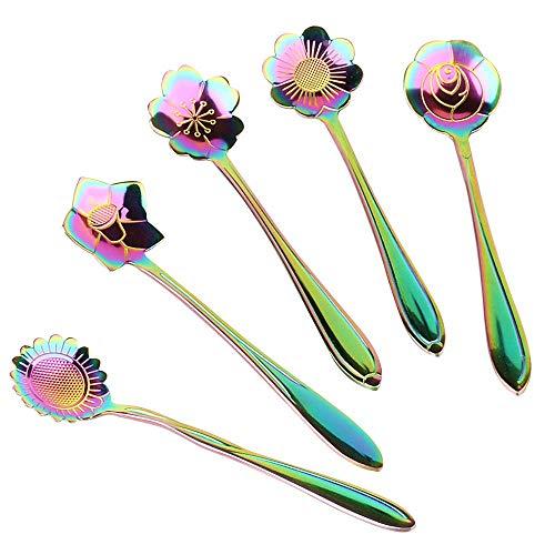 Flower Spoon Set 5pcs, XJSW Stainless Steel Teaspoon Colorful Coffee Spoon Tea Spoon Mixing Spoon Sugar Spoon, Set of 5, - Spoon Tea Sugar