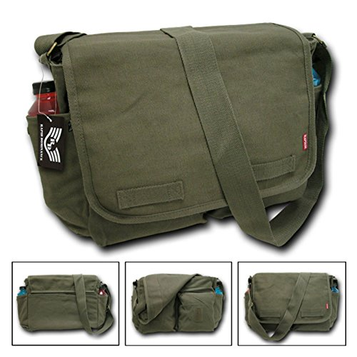 Classic Military Messenger Bags, 100 Cotton Canvas, Color Olive Drab