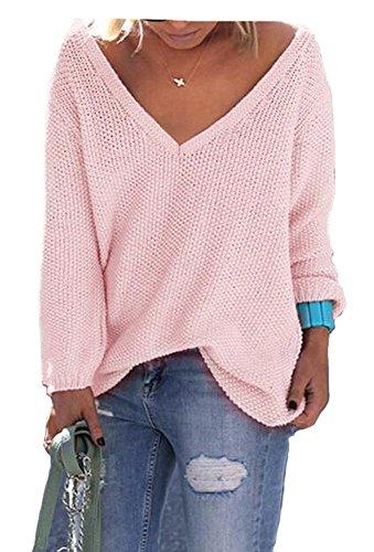 Forlisea Women's V Neck Long Sleeve Casual Pullover Sweater Sweatshirt