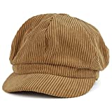 Trendy Apparel Shop Corduroy Textured Newsboy Style Cheyenne Cap - Taupe