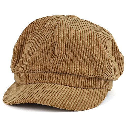Trendy Apparel Shop Corduroy Textured Newsboy Style Cheyenne Cap - Taupe by Trendy Apparel Shop