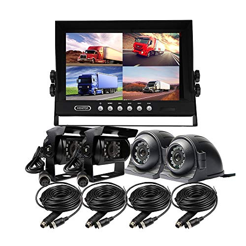 JOINLGO 12-24VDC 9 inch Quad Split 4 Channel Video View Car Monitor Kit 4pcs Night Vision Waterproof Backup Rear Front Side View Duty Car Camera Metal Case Color Black Truck Van Bus