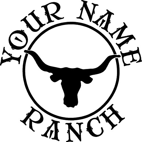 LONGHORN STEER RANCH DECAL CUSTOM MADE WITH YOUR FARM NAME