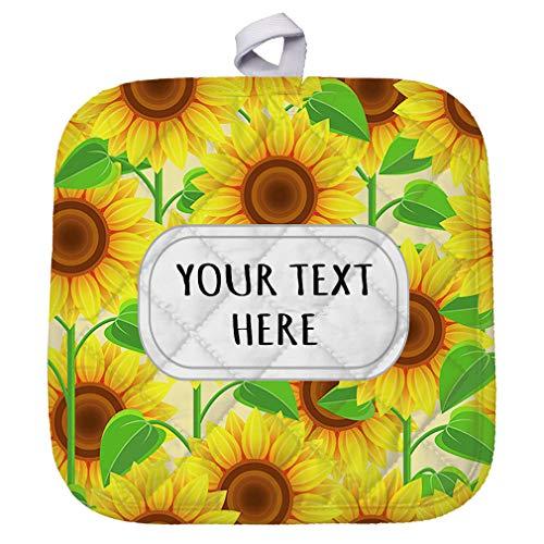 Polyester Pot Holder Custom Sunflowers Seemless Pattern Adults Trivets