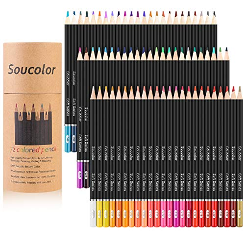 Soucolor 72-Color Colored Pencils, Soft Core, Art Coloring Drawing Pencils for Adult Coloring Book, Sketch,Crafting Projects