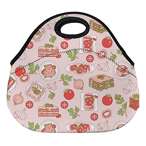 DKISEE Lasagna Pattern Large & Thick Neoprene Lunch Bags Insulated Lunch Tote Bags Cooler Warm Warm Pouch with Shoulder Strap for Women Teens Girls Kids Adults (Opus Strap)