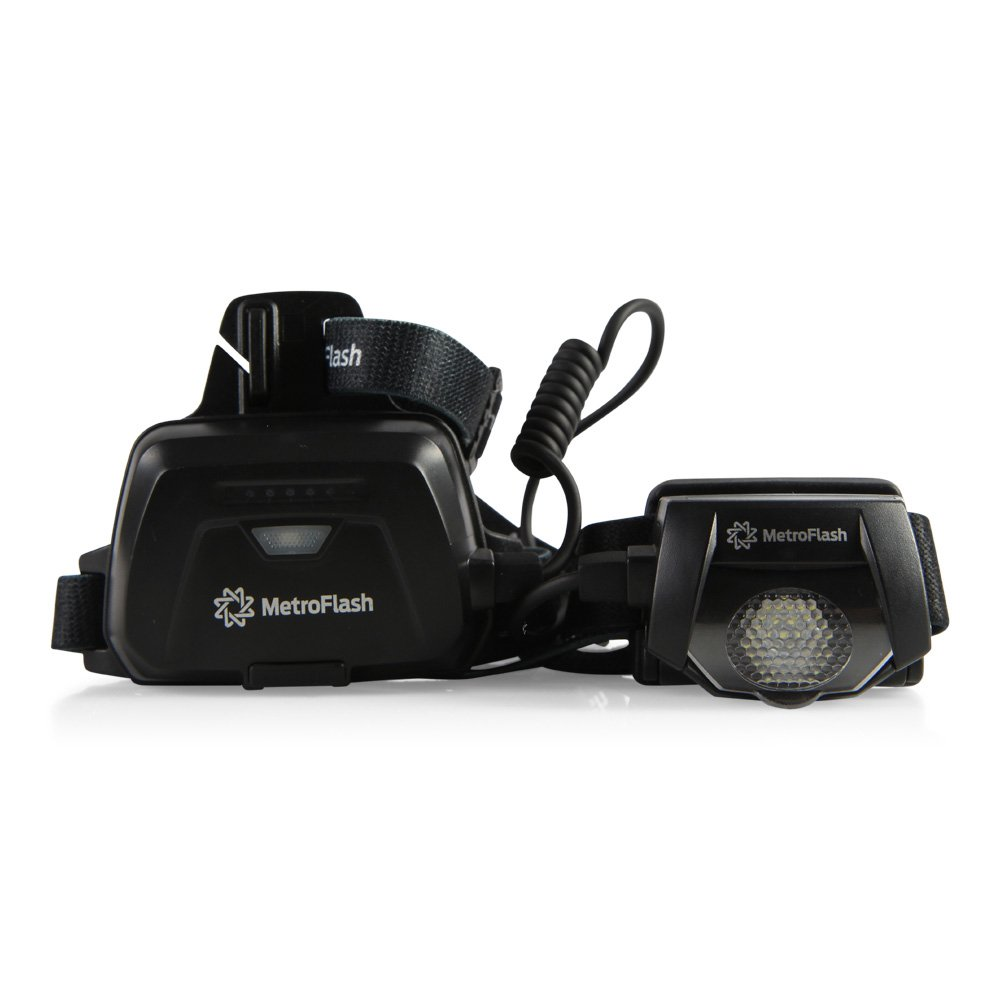 Hiking Features Super Bright 310-Lumen Cree LED /& Rechargeable Lithium Battery Biking /& More MF-H310 MetroFlash Stryker Water-Resistant Headlamp /& Flashlight Running Ideal for Construction Camping