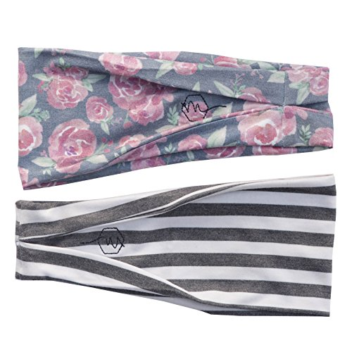 Maven Thread Womens Headband Yoga Running Exercise Sports Workout Athletic Gym Wide Sweat Wicking Stretchy No Slip 2 Pack Set Floral Gray Stripe Bodhi