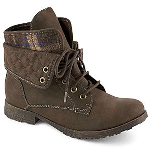 Rock & Candy Womens Spraypaint Closed Toe Ankle Combat Boots, Brown, Size 7.5 (Rock And Candy By Zigi Spraypaint Boot)