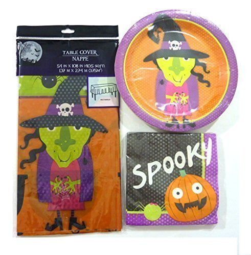 White Witch Costume Homemade (Kids Teen Toddlers Halloween Party Supplies Pack 4 Piece Set- Halloween Table Cover, Halloween Plates Halloween Napkins Halloween Cups - Witch, Pumpkin and Spider)