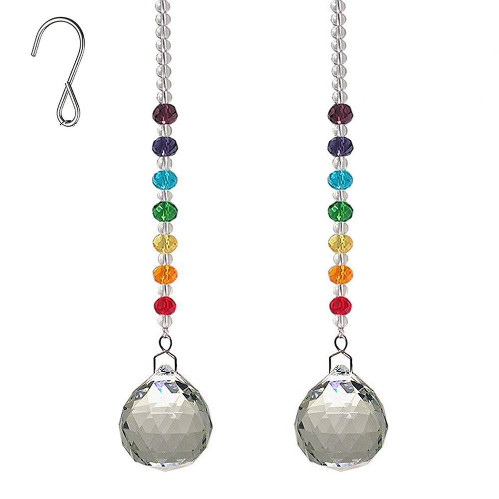 AyFashion 1.19 inch (30mm) 2pcs Crystal Prism Ball Hanging Pendant Rainbow Maker Colorful Faceted Beads Window Chandelier Lamp Curtain Decor Suncatcher Wedding Home Ornament