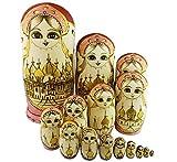 Set of 15 Wooden Girl Castle The Kremlin Traditional Russian Nesting Dolls Matryoshka Stacking Dolls Fun Toys for Kids Christmas Birthday Present Gift