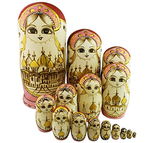Set of 15 Wooden Girl Castle The Kremlin Traditional Russian Nesting Dolls Matryoshka Stacking Dolls Fun Toys for Kids Christmas Birthday Present ()