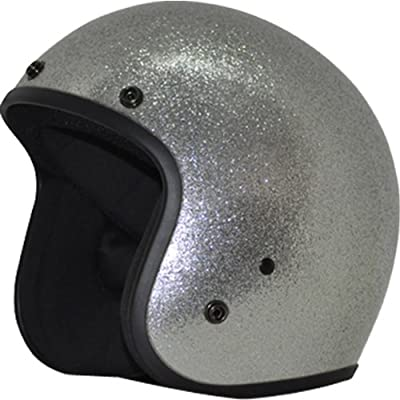 Daytona Metal Flake D.O.T. Approved 3/4 Shell Cruiser Motorcycle Helmet - Silver / 2X-Large