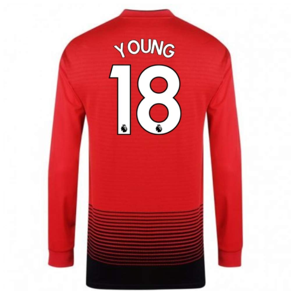 【正規逆輸入品】 2018-2019 Man Utd Adidas Chest Home Red Long Sleeve Shirt 44-46
